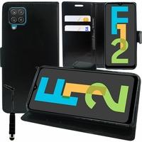 """Samsung Galaxy F12 6.5"""" SM-F127G SM-F127G/DS SM-F127F SM-F127F/DS [Les Dimensions EXACTES du telephone: 164 x 75.9 x 9.7 mm]: Etui portefeuille Support Video cuir PU + mini Stylet - NOIR"""