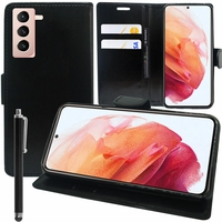 """Samsung Galaxy S21 5G 6.2"""" SM-G991 G991B G991B/DS G991U (non compatible Galaxy S21+ 5G/ S21 Plus 5G 6.7""""): Etui portefeuille Support Video cuir PU + Stylet - NOIR"""