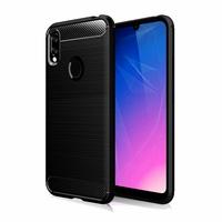 """Huawei Y6S (2019)/ Honor 8A 2020/ 8A Prime 6.09"""" JAT-LX3 JAT-L29 JAT-LX1 JAT-L41[Les Dimensions EXACTES du telephone: 156.3 x 73.5 x 8 mm]: Coque Silicone TPU Fibre de Carbone Brossé - NOIR"""