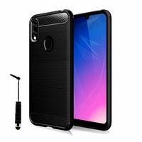 "Huawei Y6S (2019)/ Honor 8A 2020/ 8A Prime 6.09"" JAT-LX3 JAT-L29 JAT-LX1 JAT-L41[Les Dimensions EXACTES du telephone: 156.3 x 73.5 x 8 mm]: Coque Silicone TPU Fibre de Carbone Brossé + mini Stylet - NOIR"