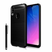 "Huawei Y6S (2019)/ Honor 8A 2020/ 8A Prime 6.09"" JAT-LX3 JAT-L29 JAT-LX1 JAT-L41[Les Dimensions EXACTES du telephone: 156.3 x 73.5 x 8 mm]: Coque Silicone TPU Fibre de Carbone Brossé + Stylet - NOIR"