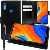 """Huawei Y6S (2019)/ Honor 8A 2020/ 8A Prime 6.09"""" JAT-LX3 JAT-L29 JAT-LX1 JAT-L41[Les Dimensions EXACTES du telephone: 156.3 x 73.5 x 8 mm]: Etui portefeuille Support Video cuir PU + Stylet - NOIR"""