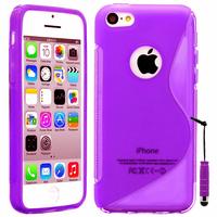 Apple iPhone 5C: Accessoire Housse Etui Pochette Coque S silicone gel + mini Stylet - VIOLET