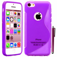 Apple iPhone 5C: Accessoire Housse Etui Pochette Coque S silicone gel + Stylet - VIOLET