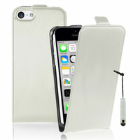 Apple iPhone 5C: Accessoire Housse coque etui cuir fine slim + mini Stylet - BLANC