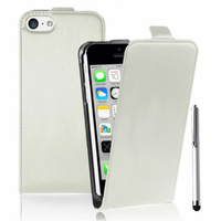 Apple iPhone 5C: Accessoire Housse coque etui cuir fine slim + Stylet - BLANC