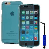Apple iPhone 6/ 6s: Accessoire Coque Etui Housse Pochette silicone gel Portefeuille Livre rabat + mini Stylet - BLEU