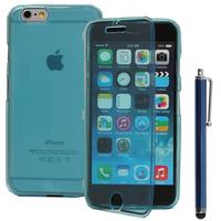 Apple iPhone 6/ 6s: Accessoire Coque Etui Housse Pochette silicone gel Portefeuille Livre rabat + Stylet - BLEU