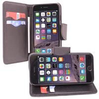 Apple iPhone 6/ 6s: Accessoire Etui portefeuille Livre Housse Coque Pochette support vidéo cuir PU effet tissu - NOIR