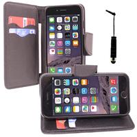 Apple iPhone 6/ 6s: Accessoire Etui portefeuille Livre Housse Coque Pochette support vidéo cuir PU effet tissu + mini Stylet - NOIR