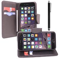 Apple iPhone 6/ 6s: Accessoire Etui portefeuille Livre Housse Coque Pochette support vidéo cuir PU effet tissu + Stylet - NOIR