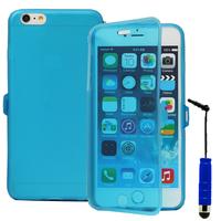 Apple iPhone 6 Plus/ 6s Plus: Accessoire Coque Etui Housse Pochette silicone gel Portefeuille Livre rabat + mini Stylet - BLEU