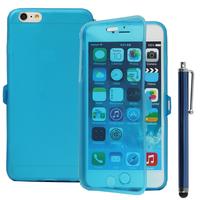 Apple iPhone 6 Plus/ 6s Plus: Accessoire Coque Etui Housse Pochette silicone gel Portefeuille Livre rabat + Stylet - BLEU