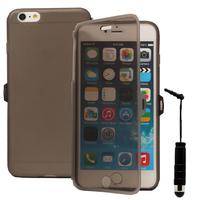 Apple iPhone 6 Plus/ 6s Plus: Accessoire Coque Etui Housse Pochette silicone gel Portefeuille Livre rabat + mini Stylet - GRIS