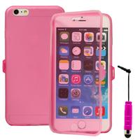 Apple iPhone 6 Plus/ 6s Plus: Accessoire Coque Etui Housse Pochette silicone gel Portefeuille Livre rabat + mini Stylet - ROSE