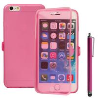 Apple iPhone 6 Plus/ 6s Plus: Accessoire Coque Etui Housse Pochette silicone gel Portefeuille Livre rabat + Stylet - ROSE