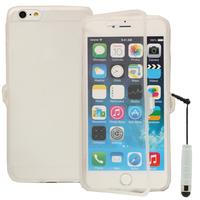 Apple iPhone 6 Plus/ 6s Plus: Accessoire Coque Etui Housse Pochette silicone gel Portefeuille Livre rabat + mini Stylet - TRANSPARENT