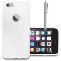 Apple iPhone 6 Plus/ 6s Plus: Accessoire Housse Etui Pochette Coque S silicone gel + Stylet - BLANC