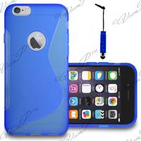 Apple iPhone 6 Plus/ 6s Plus: Accessoire Housse Etui Pochette Coque S silicone gel + mini Stylet - BLEU