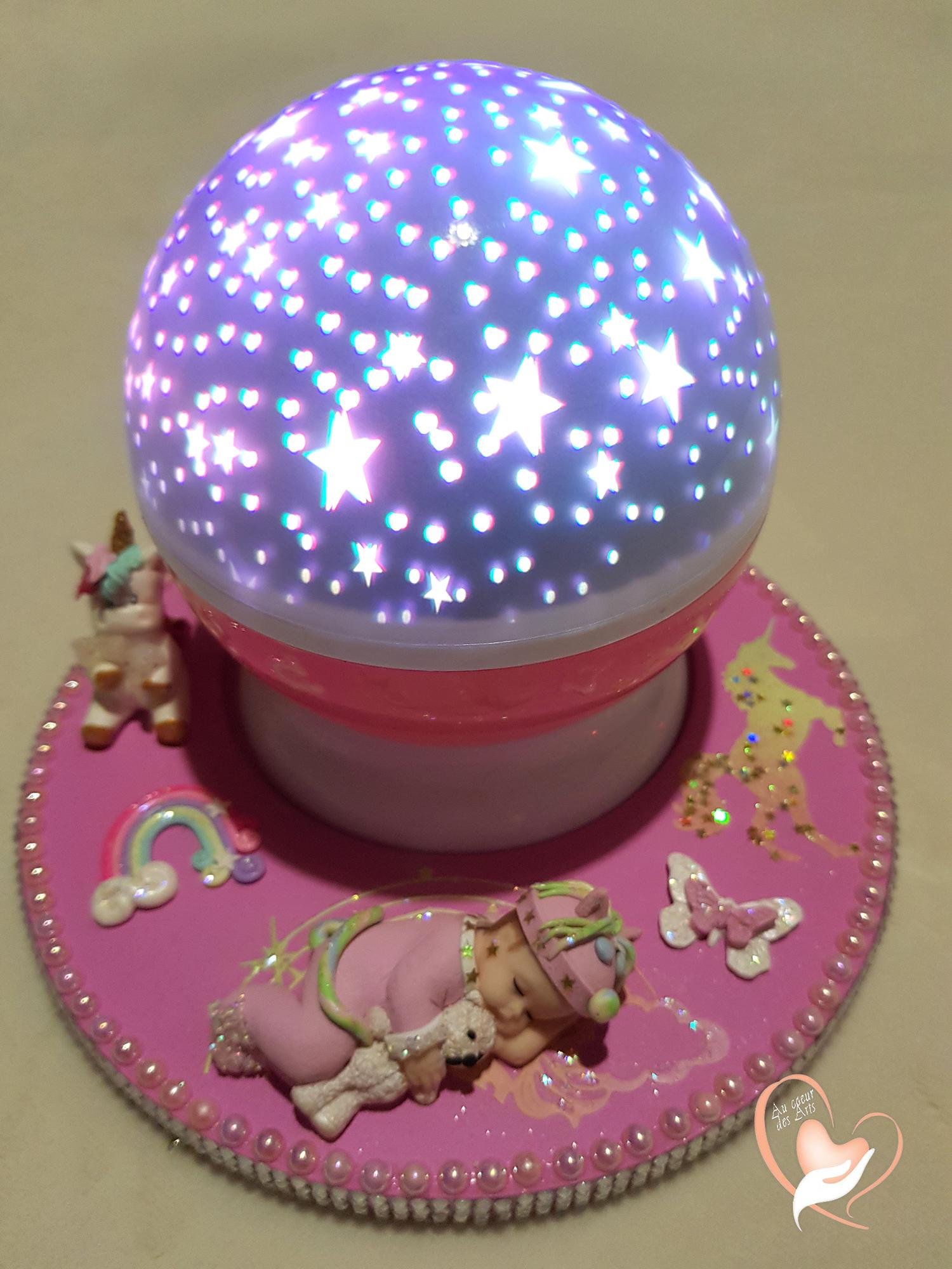 Bebe Rose Étoilé Veilleuse Lumineuse Sur En Bois Lampe Ciel Socle K35TlJuF1c