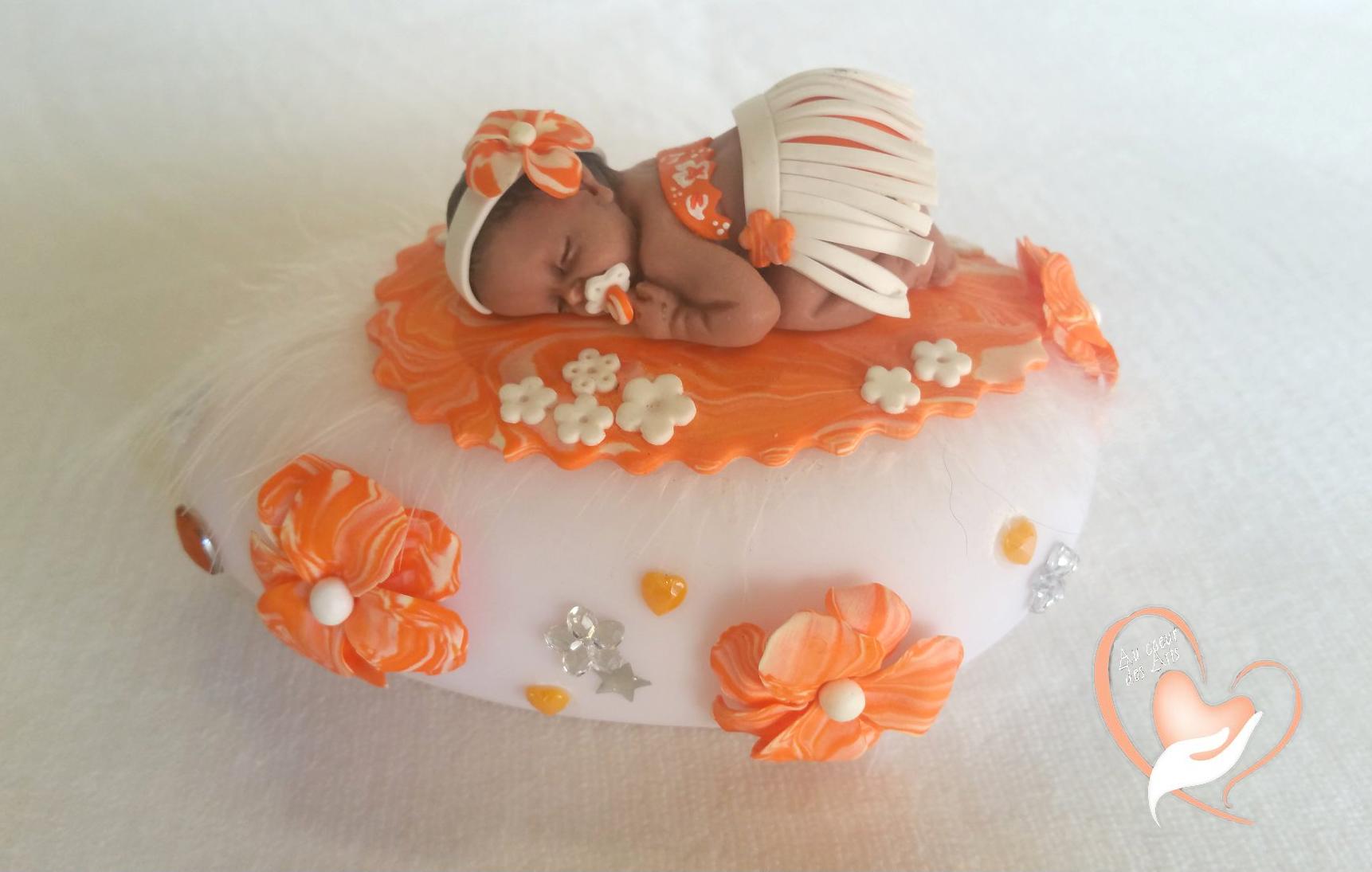 Veilleuse galet lumineux b b tahitienne cadeaux de naissance au coeur des arts - Bebe en pate fimo ...