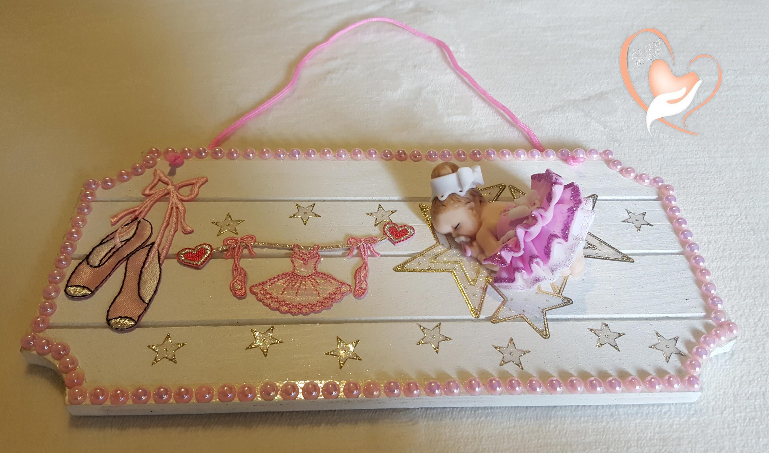 Plaque de porte bébé ballerine au coeur des arts Enfants Au