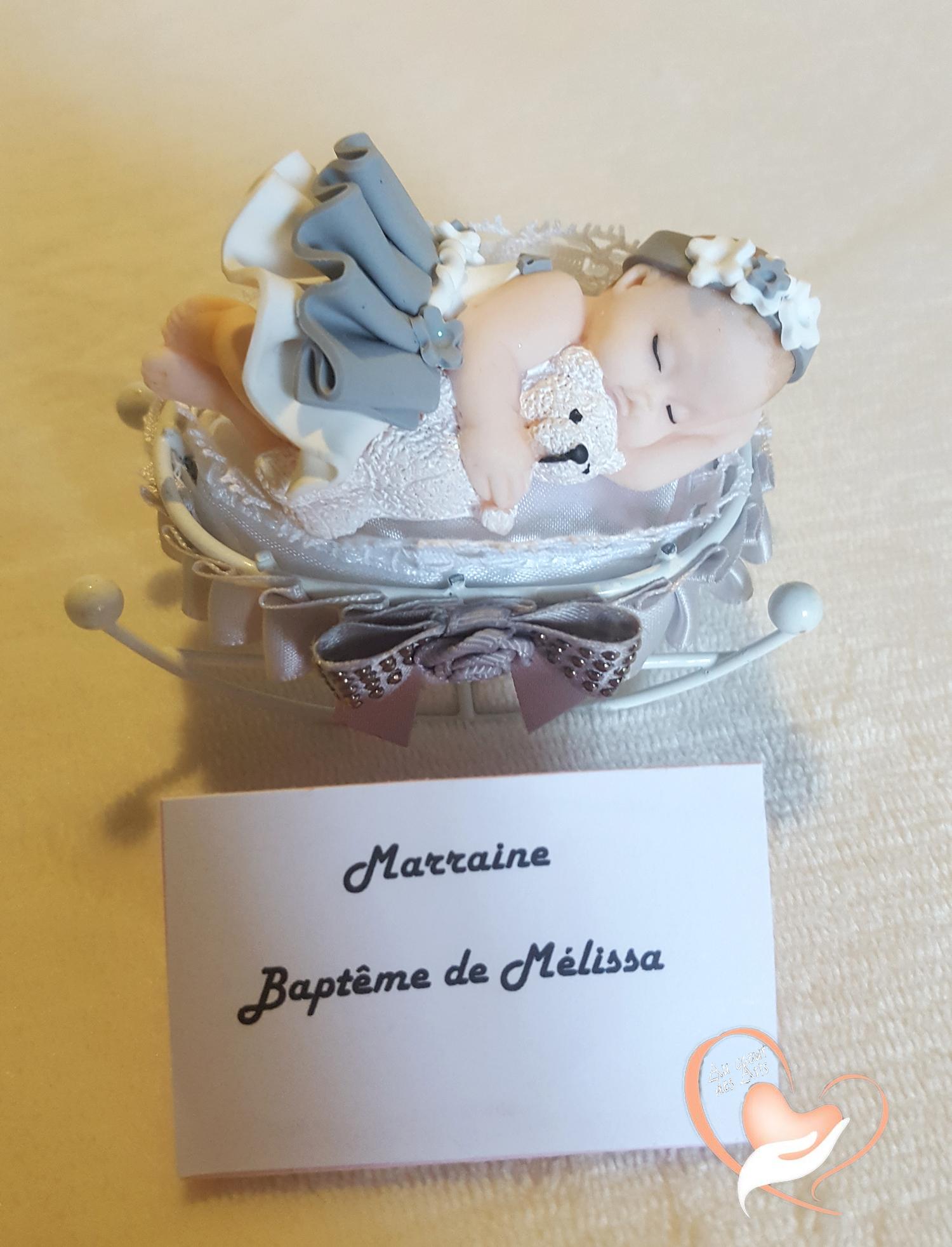 Marque place bébé fille gris avec son ours baptême - au ...