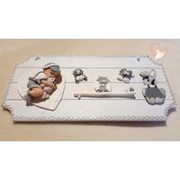 Plaque de porte bébé garçon blanc et gris- au coeur des arts