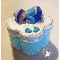 Boîte à dent de lait ou à dragées bébé garçon bleu  - au coeur des arts