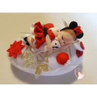 Veilleuse galet lumineux bébé fille mini avec son ours - au coeur des arts