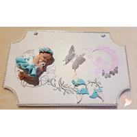 Plaque de porte bébé fille bleu turquoise et blanc - au coeur des arts