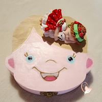Boîte à dents de lait bébé fille Charlotte aux fraises avec son ours - au cœur des arts