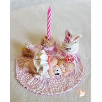 Porte bougie anniversaire bébé fille et son ours - au coeur des arts