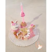 Porte bougie anniversaire bébé fille fée clochette robe rose nacrée - au coeur des arts