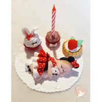 Porte bougie anniversaire bébé fille Mini et son ours - au coeur des arts