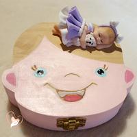 Boîte à dents de lait bébé fille robe Lilas et blanche - au cœur des arts