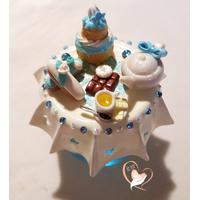 Sucrier ou pot à confiture bleu et blanc - au coeur des arts