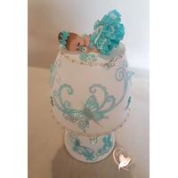 Lampe de chevet blanche bébé fille turquoise - au cœur des arts