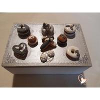 Boîte à sucre ou à biscuits grise et blanche - au coeur des arts