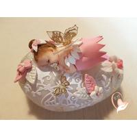 Veilleuse galet lumineux bébé fille fée clochette rose - au coeur des arts
