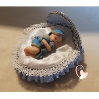 Veilleuse couffin lumineux bébé garçon et son ours - au coeur des arts