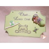 Plaque de porte bébé garçon vert et gris - au coeur des arts