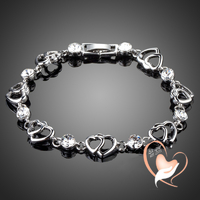 Bracelet double Cœur PLAQUE OR BLANC - au coeur des arts