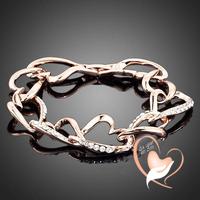 Bracelet cœur entrelacés plaqué or rose et cristal - au coeur des arts
