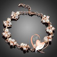 Bracelet plaqué or rose cristal Swarovski et perles blanches – au cœur des arts