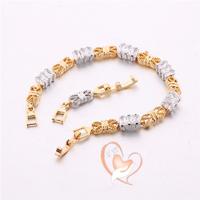 Bracelet plaqué or zircon rectangulaires et maillons plats - au coeur des arts