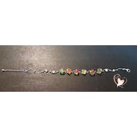 Bracelet rodhium et 6 cubes cristal Swarovski - au coeur des arts