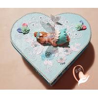 Boîte de naissance bébé fille fée clochette bleue et blanche - au coeur de arts