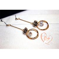Boucles d'oreille Fleur style CHANEL plaqué or - au coeur des arts