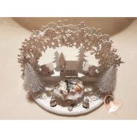 Arche de noël - veilleuse bébé fille dans son traineau - au cœur des arts